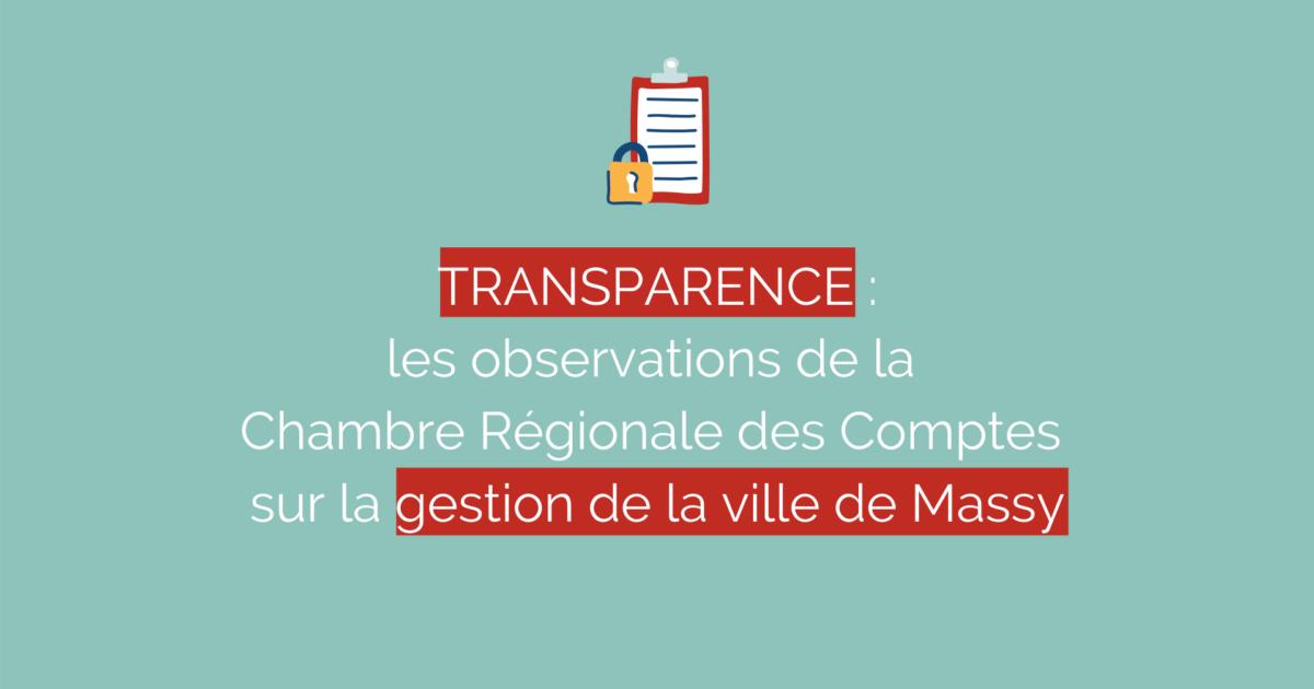 Transparence : les observations de la Chambre Régionale des Comptes sur la gestion de la ville de Massy